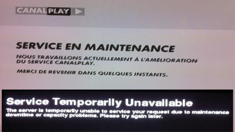 Canal + à la demande  et Canalplay en maintenance