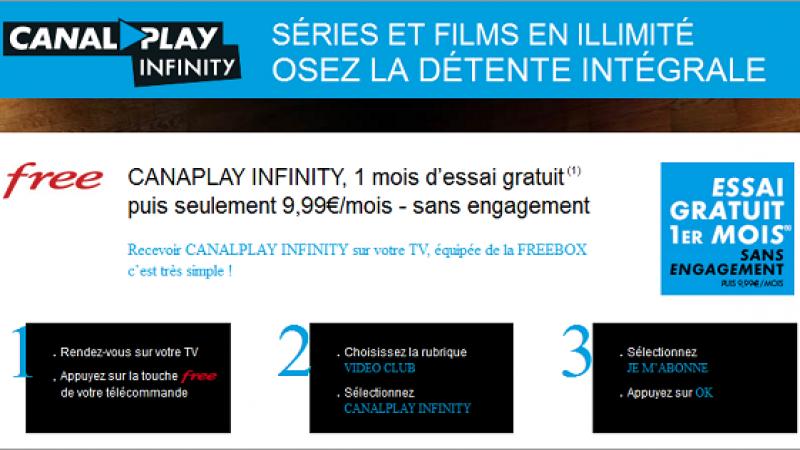 Canal Play infinity : un mois gratuit puis 9,99 euros/mois sans engagement