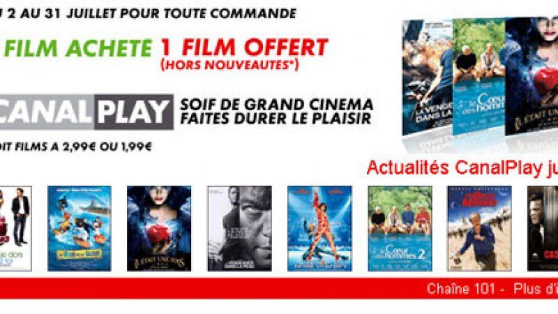 Freebox : 1 film acheté = 1 film gratuit sur Canalplay en juillet