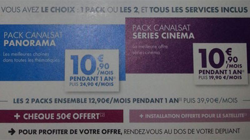 Bon plan Canalsat : 1 pack pour 10,90€, tout Canalsat pour 12,90€