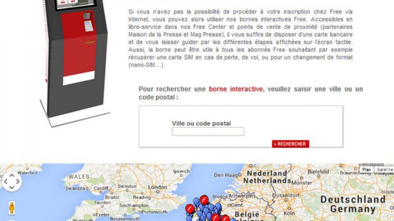 Free publie une carte officielle et plus complète des bornes Free