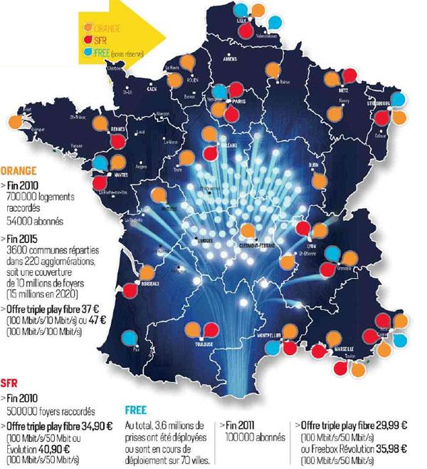 fibre optique orange carte Fibre : La carte prévisionnelle de déploiement pour 2011 de Free