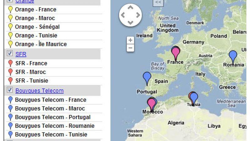 La carte des pays où sont situés les centres d'appels de Free, SFR, Bouygues et Orange