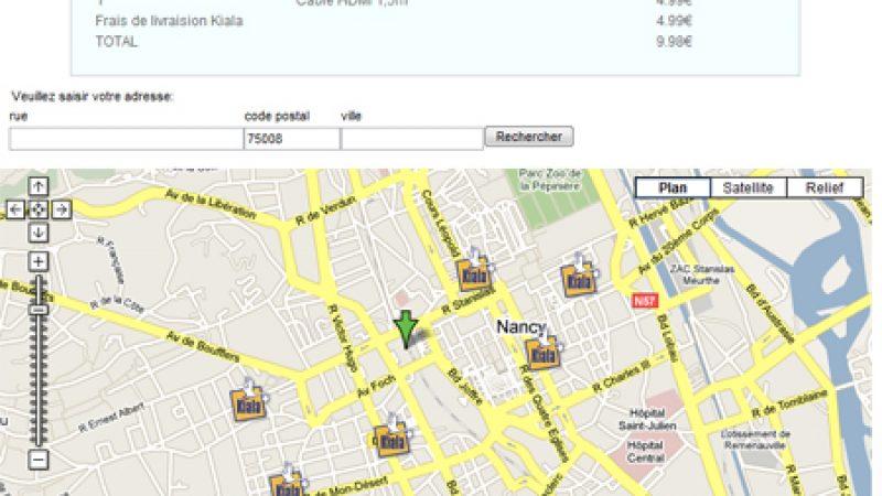 Boutique Free online : Intégration de la carte des relais Kiala les plus proches