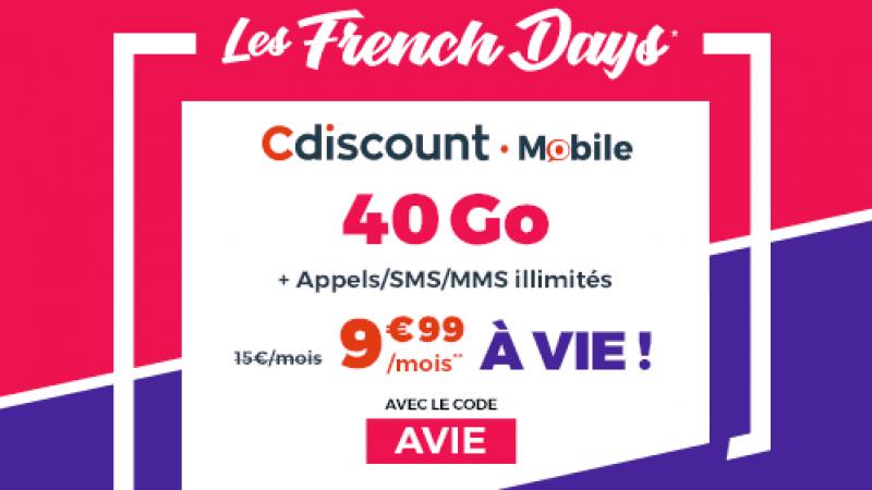 Cdiscount Mobile propose son forfait 40 Go à 9,99€/mois à vie pour les French Days