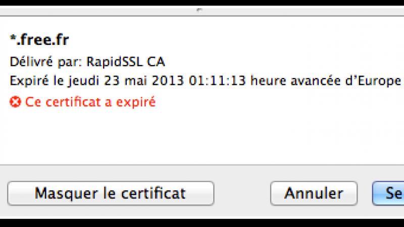 [MàJ] *.free.fr : Le certificat de sécurité (SSL) est expiré…