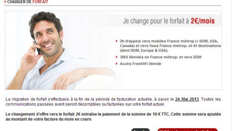 La migration du forfait Free vers le forfait 2€ disponible sur l'espace abonné
