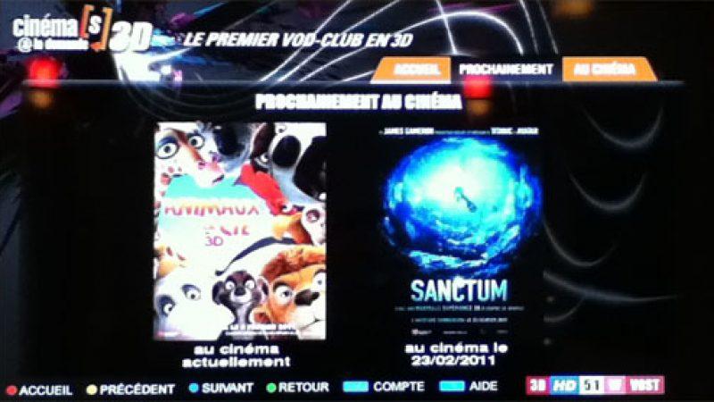 Les bandes annonces 3D des films en salle disponibles sur la Freebox