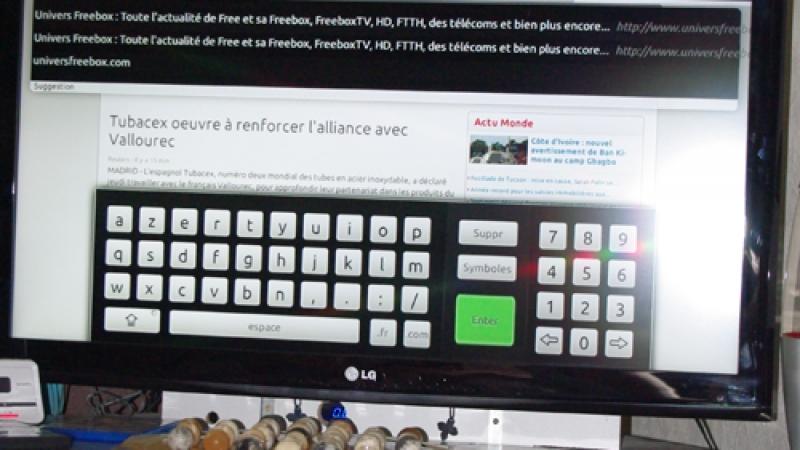 Freebox Révolution : Test du navigateur web avec un clavier sans fil