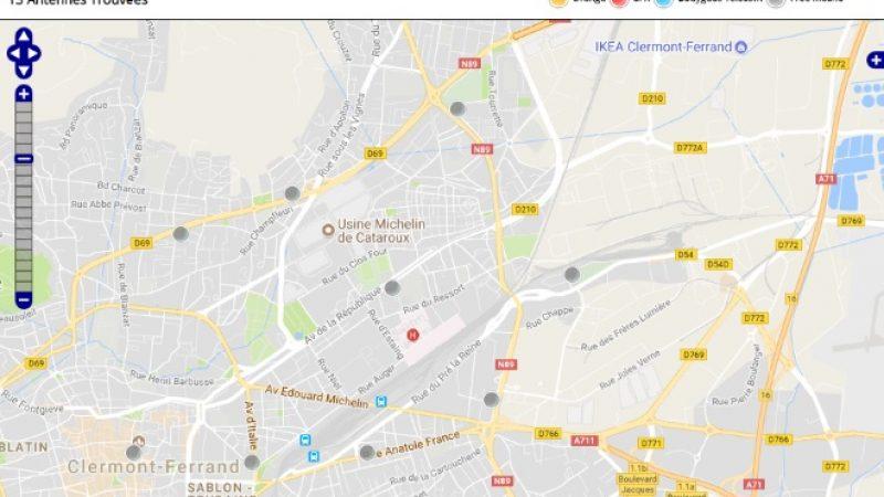 Découvrez la répartition des antennes mobiles Free 3G/4G sur Clermont-Ferrand