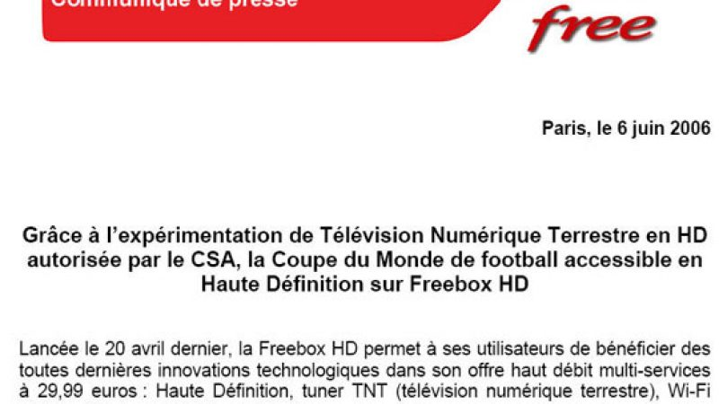 Communiqué de presse: la coupe du monde HD sur Freebox
