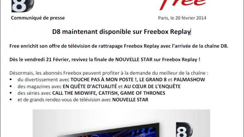 Communiqué de presse commun D8 et Free : #D8surFree