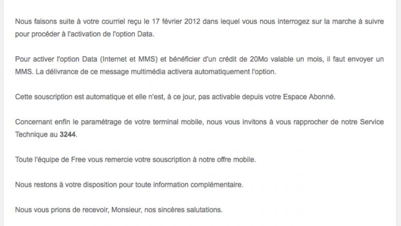 Forfait 2€ Free Mobile : l'envoi d'un MMS suffit à activer l'option Data