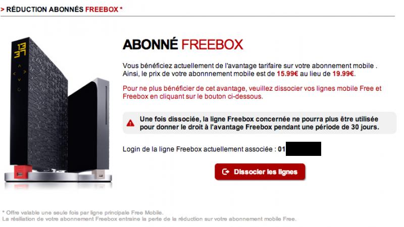 Nouveau : Free Mobile permet maintenant de dissocier un avantage Freebox