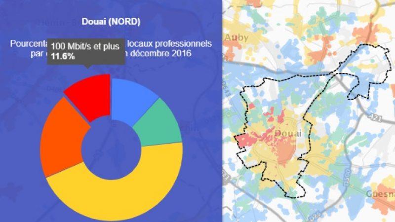 Découvrez les cartes du déploiement très haut débit de Douai