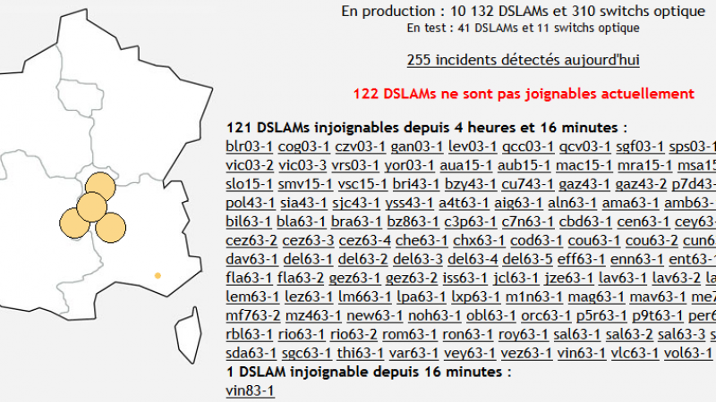 Free : incident important sur les DSLAMs dans le centre de la France