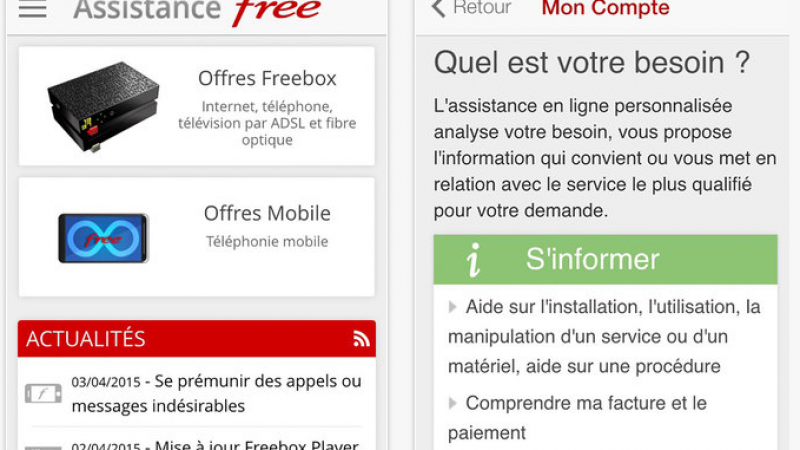 "Une mise à jour est disponible pour la version iOS de l'application ""Assistance Free – Face To Free"""