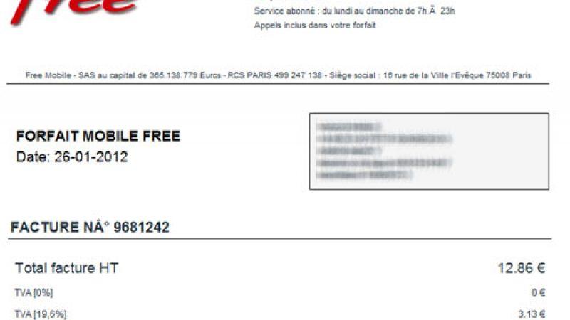La première facture disponible dans l'espace abonné Free Mobile