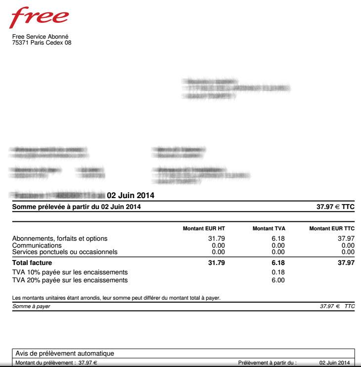 facture free services ponctuels ou occasionnels