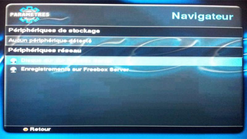 Accédez au disque dur de la Freebox Server avec votre Freebox HD