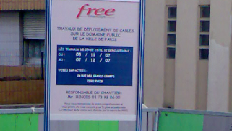 Clin d'oeil: Free Infrastruture fibre dans le 20e de Paris
