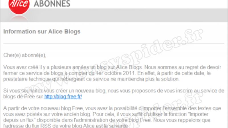 Fin des blogs Alice au 1er octobre 2011
