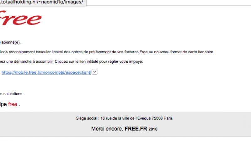 Une nouvelle vague de phishing, déjà utilisée auparavant, vise actuellement les abonnés Free