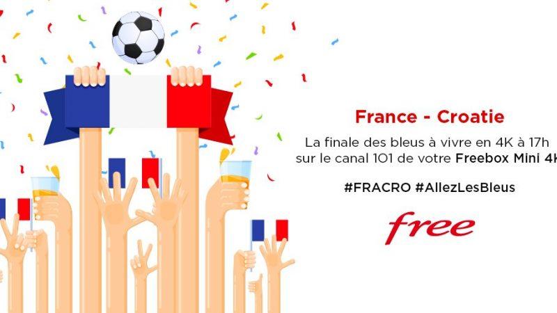 Free annonce qu'en cas de victoire de la France, la diffusion 4K sur Freebox sera prolongée toute la soirée