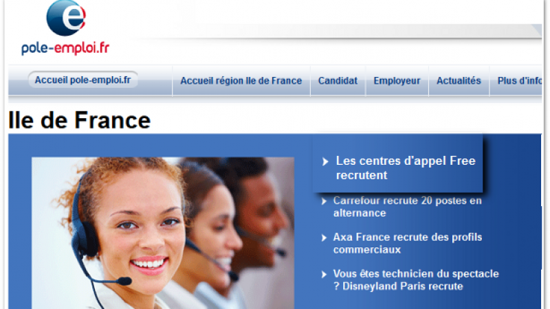 Free : Centrapel recrute et s'invite à la Une du site Pôle-Emploi