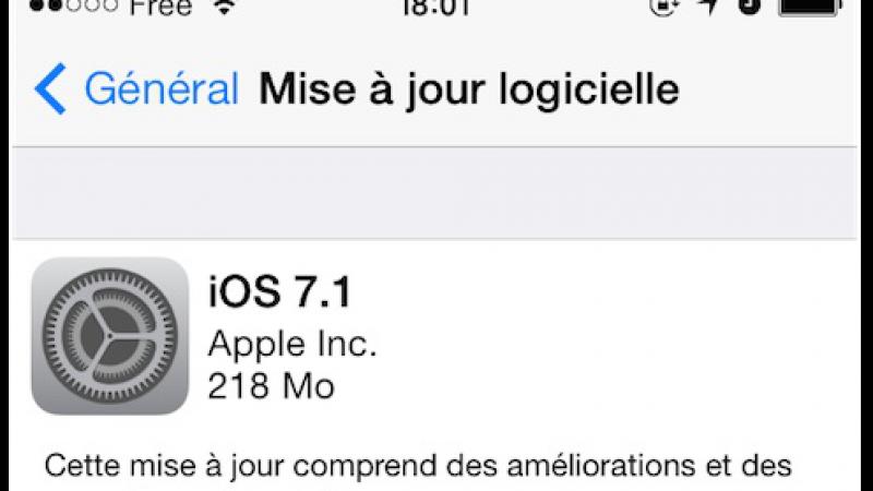 La mise à jour iOS 7.1 est disponible pour les iPhone 4, 4s, 5, 5c et 5s
