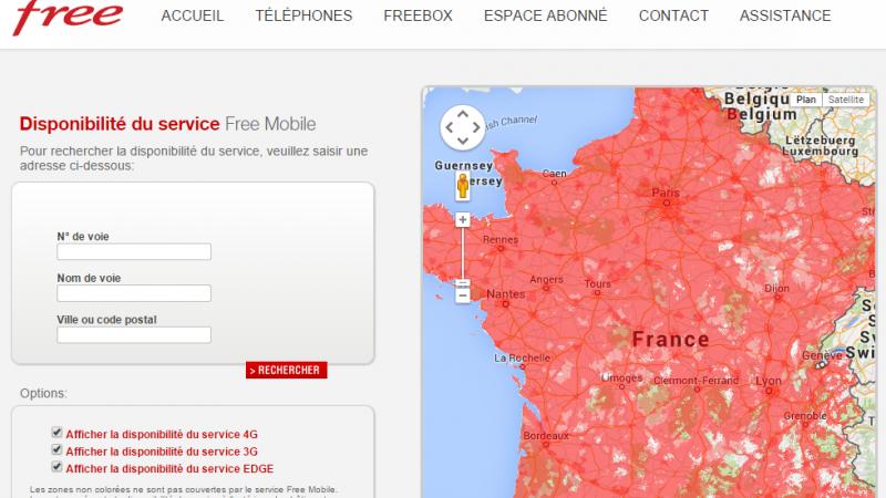 Free Mobile met à jour sa carte de couverture 3G