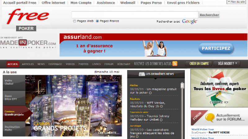 Free.fr : Du poker en ligne en partenariat avec MadeInPoker.com