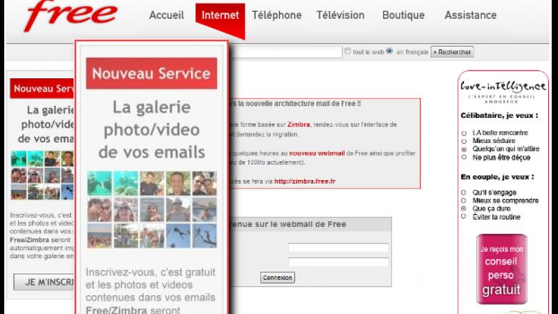 Webmail Free : Une pub se présente comme un nouveau service