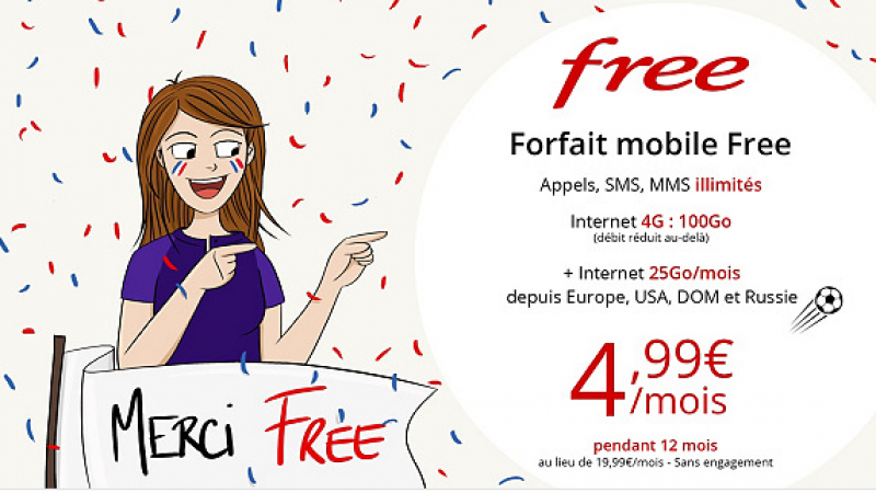 La promo sur le forfait 100 Go de Free Mobile à 4,99€  joue les prolongations