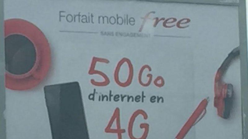 Free lance une campagne pub pour son forfait 50Go en 4G à 15,99€