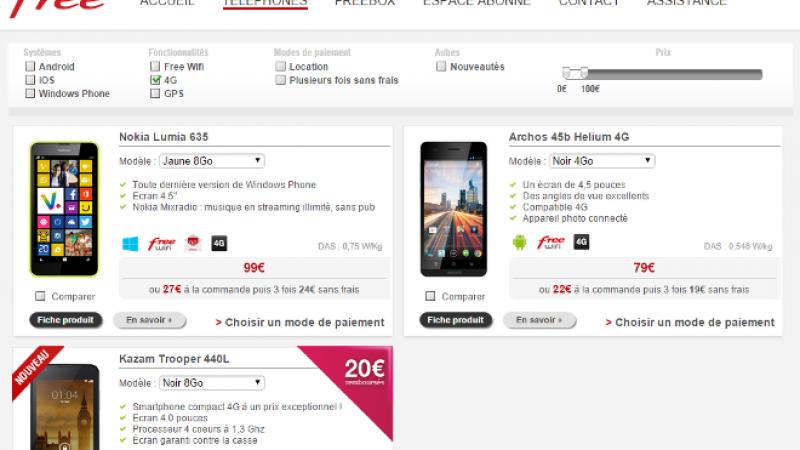 Free Mobile : coup de projecteur sur les smartphones 4G à moins de 100 euros