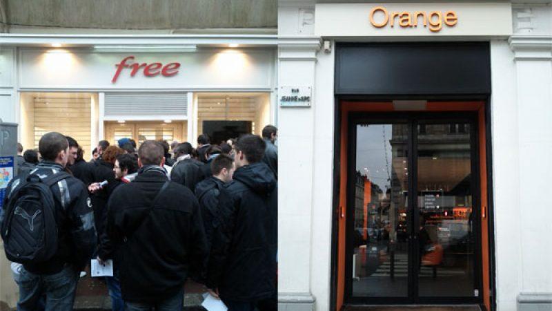 Quand le Free Center de Rouen est pris d'assaut, la boutique Orange d'en face reste vide