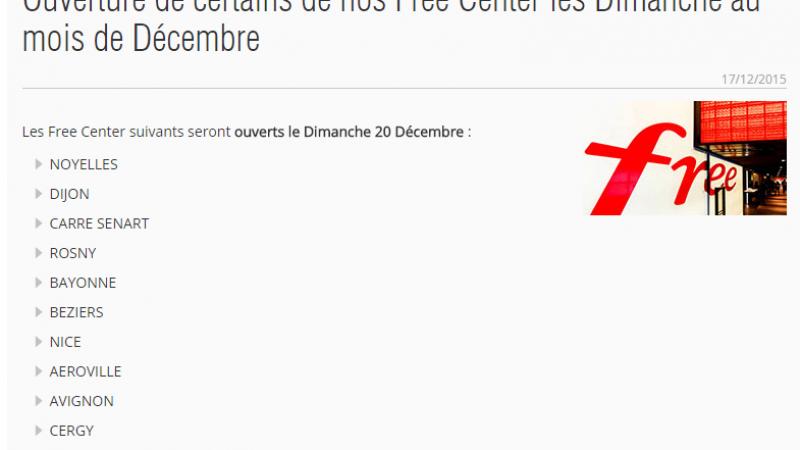 Free communique officiellement sur l'ouverture des Free Center les dimanches au mois de décembre