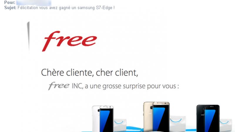 « Félicitation Free vous a fait gagner un Samsung S7-Edge ! ». Attention c'est une arnaque