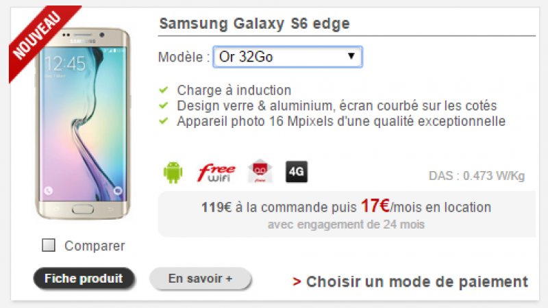 La version Or du Samsung Galaxy S6 Edge débarque sur la boutique Free Mobile
