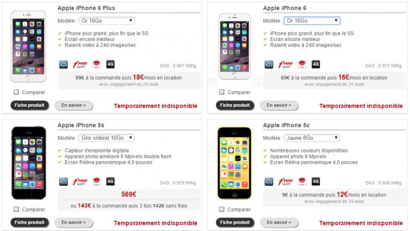 De nombreux iPhone sont aux abonnés absents sur la boutique Free Mobile