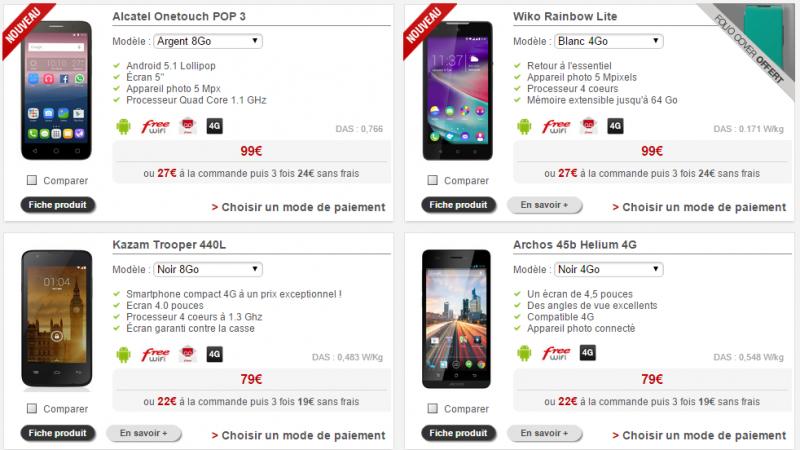 Free Mobile : quatre smartphones 4G à moins de 100 euros