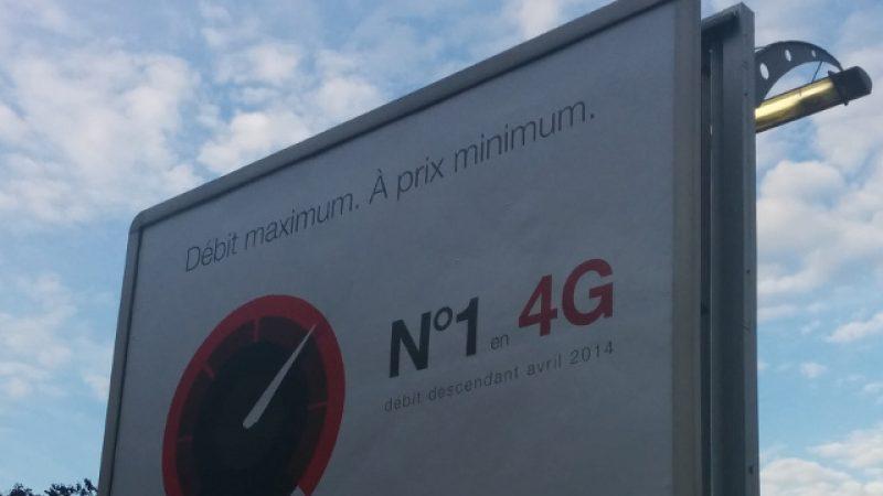 """Nouvelle affiche publicitaire pour la 4G Free Mobile : """"Débit maximum. À prix minimum"""""""