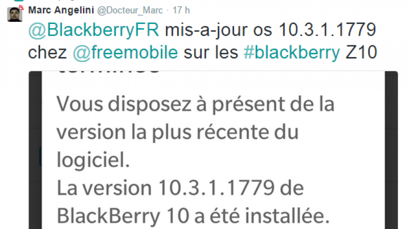 Free Mobile : une mise à jour OS est disponible pour les Blackberry Z10