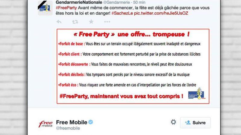 """Clin d'œil : le community manager de Free Mobile répond à la gendarmerie qui utilise la marque """"Free"""""""
