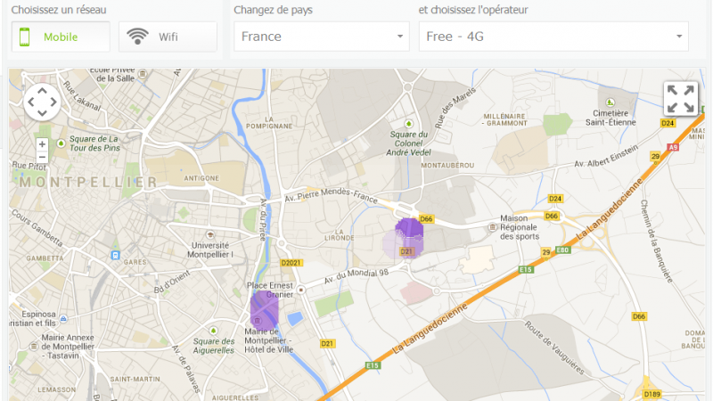 Carte de France de la 4G Free Mobile : suivez l'évolution avec Sensorly