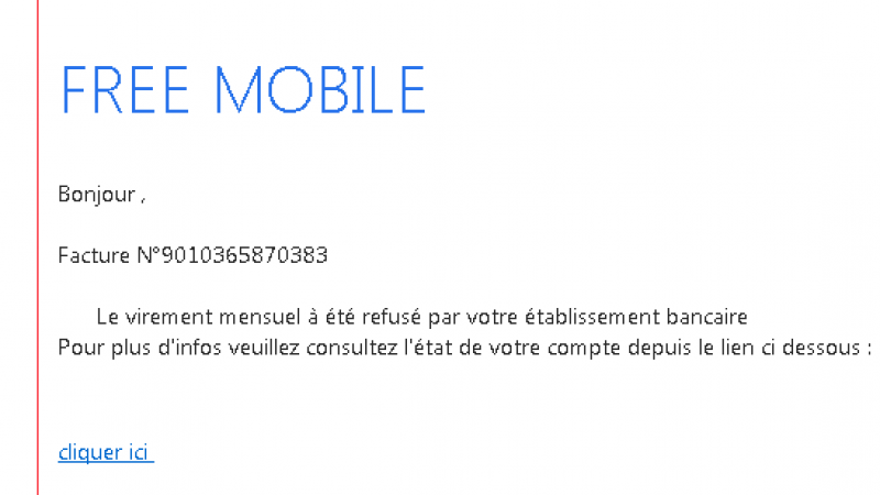 Attention, une nouvelle attaque phishing, classique mais efficace, vise actuellement les abonnés Free Mobile