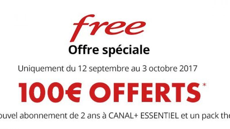 Offre spéciale Free : 100€ offerts pour la souscription à une offre Canal