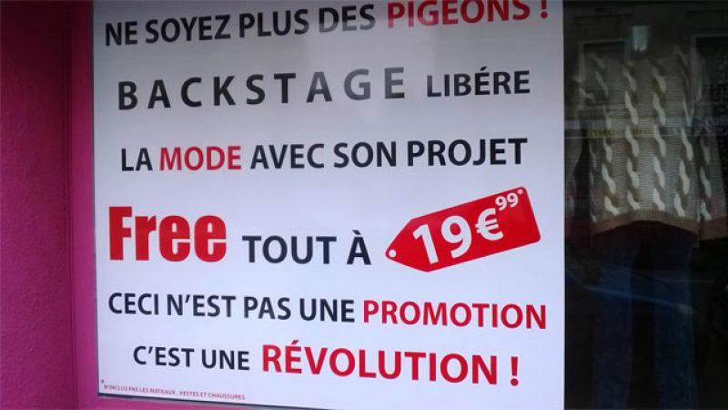 Clin d'œil : après les cigarettes ou les sandwiches, Free est utilisé pour vendre des vêtements