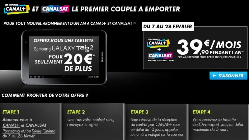 Nouvelle offre Canal+/Canalsat : une  Galaxy Tab 2 pour 20€